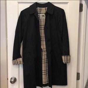 Burberry A Line Rain Jacket with Detachable Hood